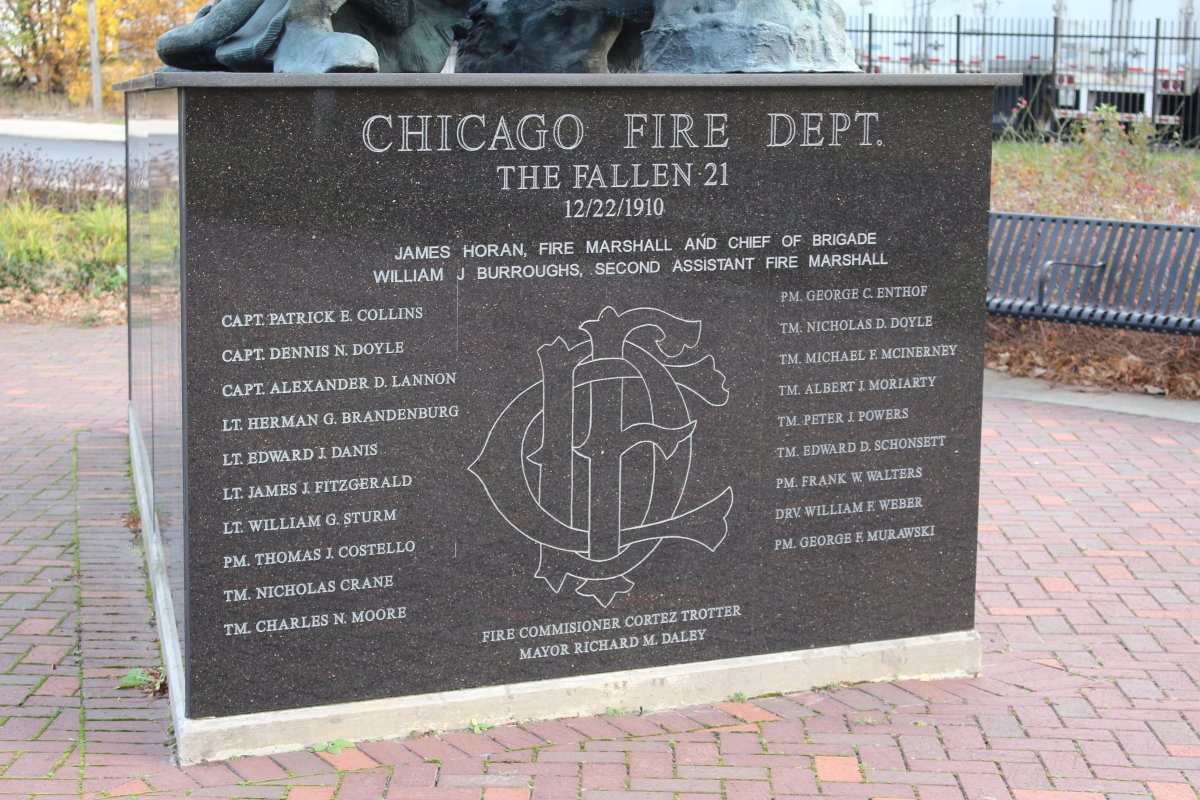 The memorial for the 21 firemen that died battling the Stock Yards Fire of 1910.