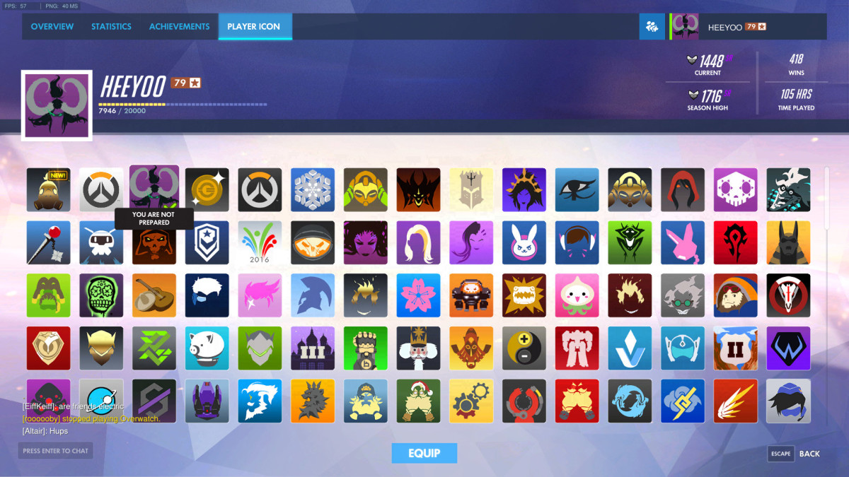 Player Icon Menu