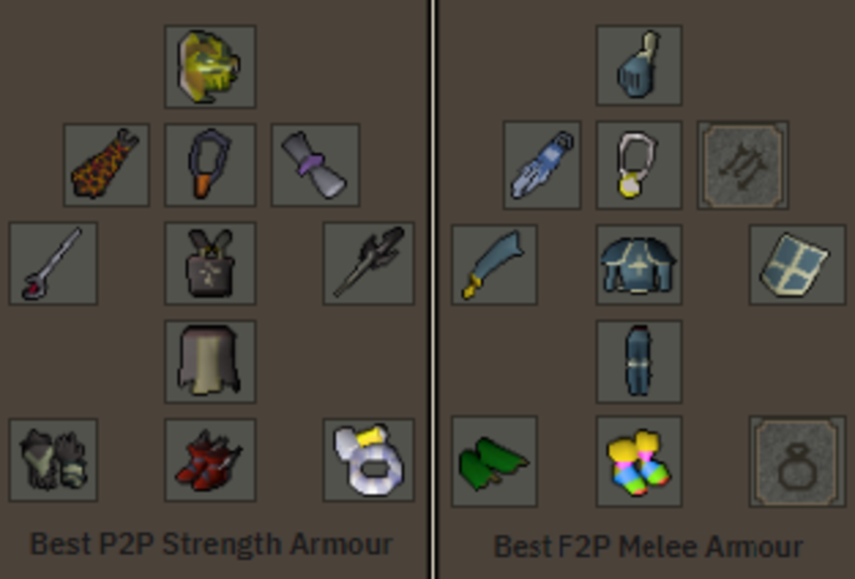 The best melee gear for P2P and for F2P, note that on a Slayer task, the Black Mask or Slayer Helm will be better than the Serpentine Helm