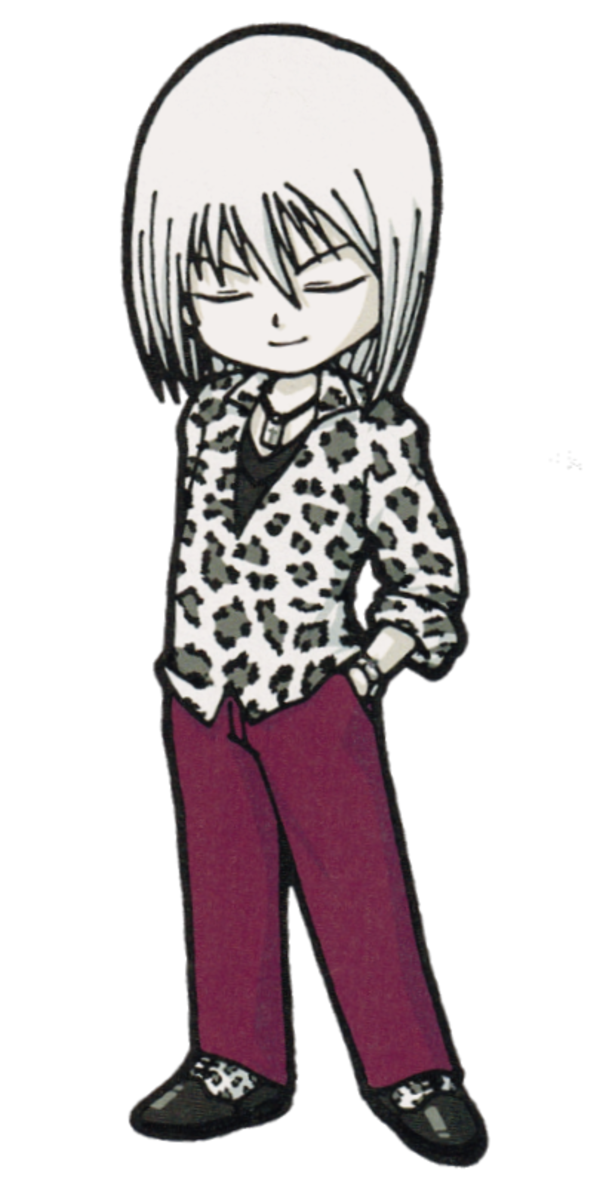 Skye in his signature leopard blouse and purple pants