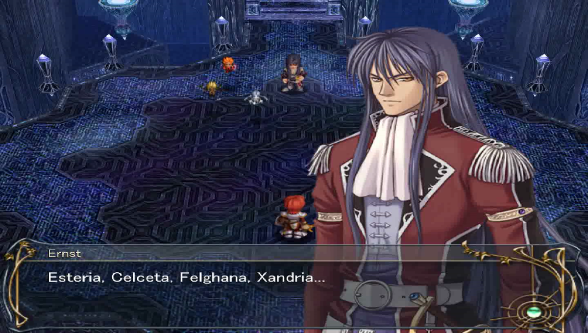Ernst listing all of Adol's past adventures.