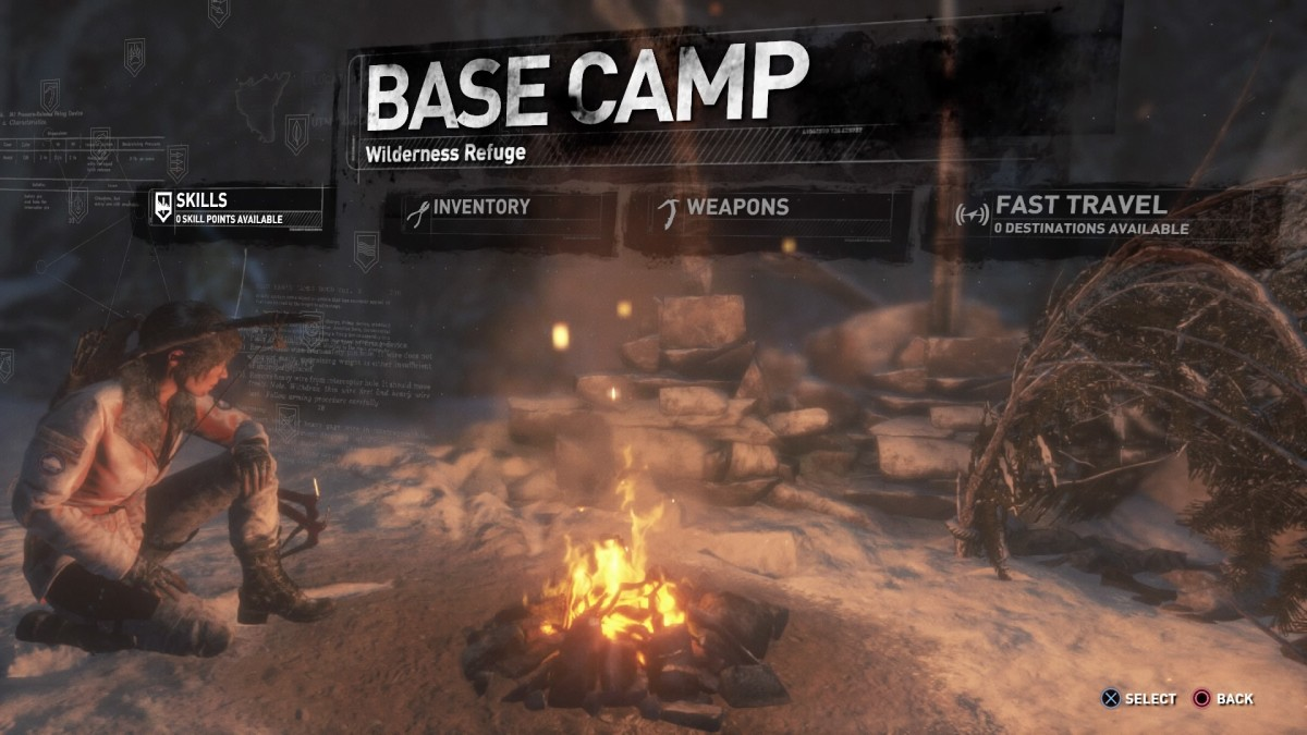 Screenshot showing the new Base Camp layout and options. Photo taken by myself via PlayStation 4 Share.