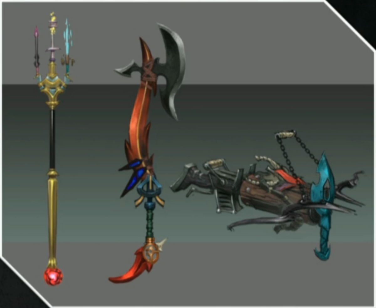 Initial concept art for Invention weapons.