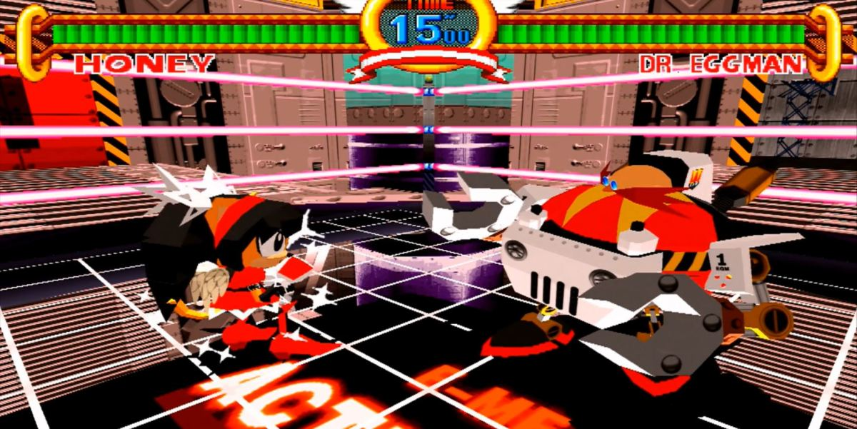 Honey the Cat fights Dr. Robotnik in the final bonus stage of the game. Image copyright of Sega.