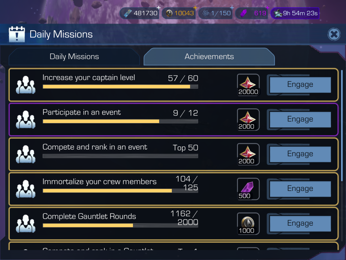 To see your in-game progress and win goodies, take a look at the Achievements tab.