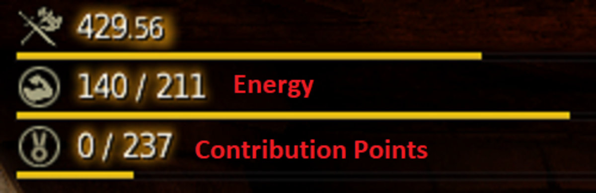 In the top left corner, you can see your energy and contribution points. The image shows 141 energy available of a total of 211 and 0 contribution points of a total of 237.