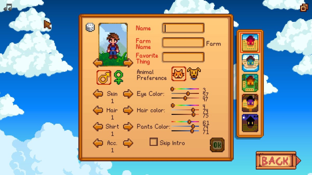 The character creation screen.