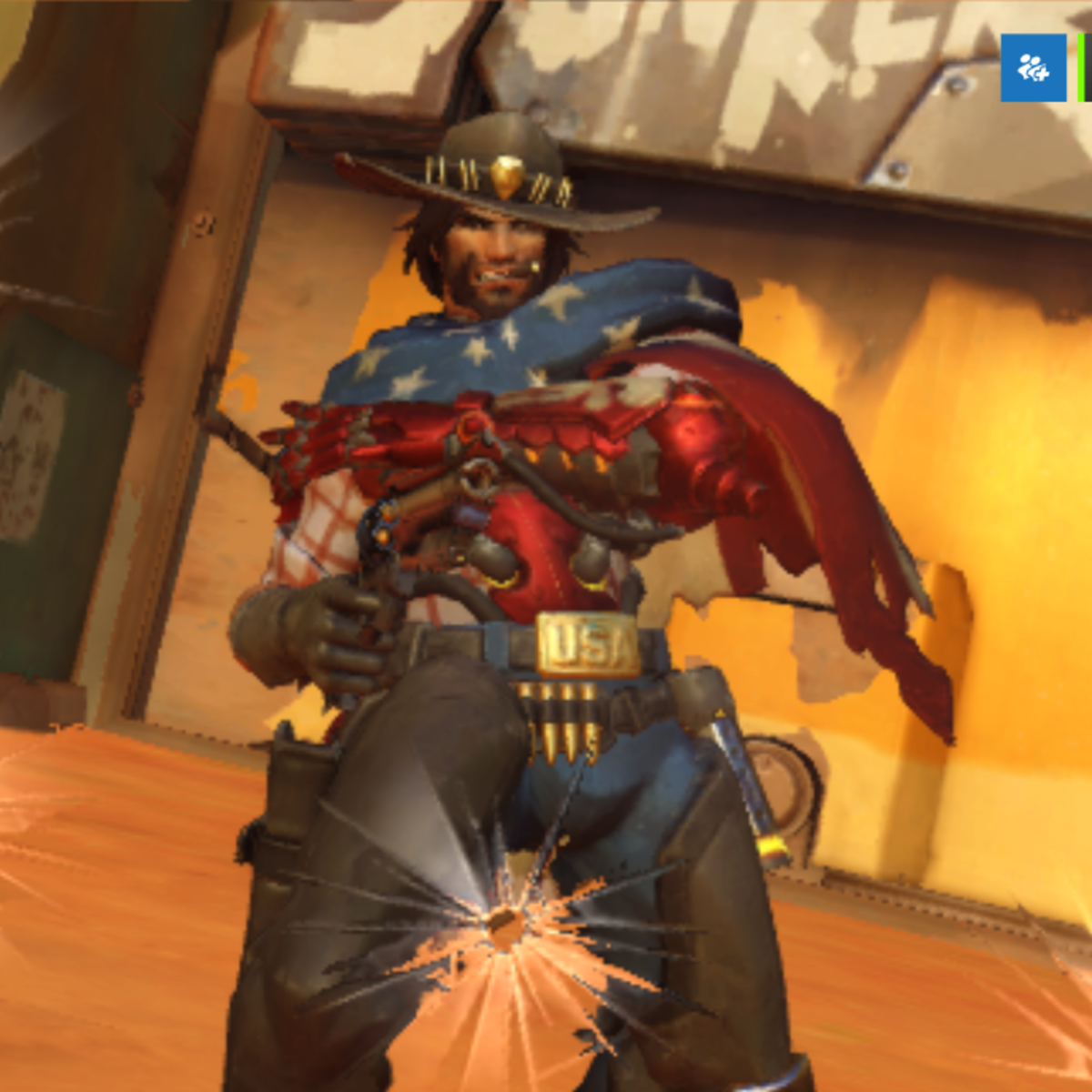A cowboy wearing the American flag. Can't get more patriotic than that.