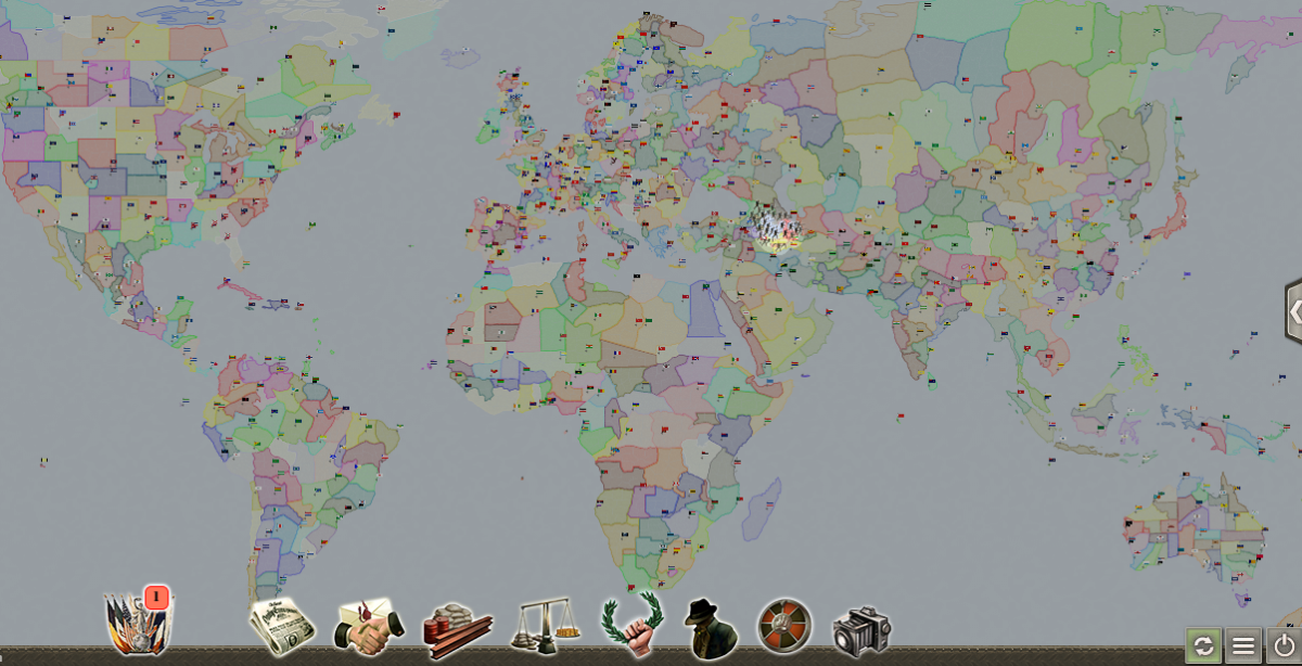 Part of a 500 player map in Supremacy 1914 : here are probably the better part of 10,000 regions in view.
