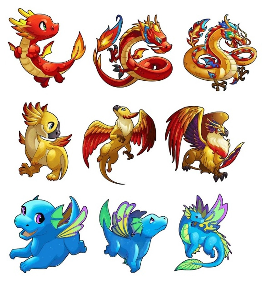 Your sidekick dragons can evolve and grow stronger.