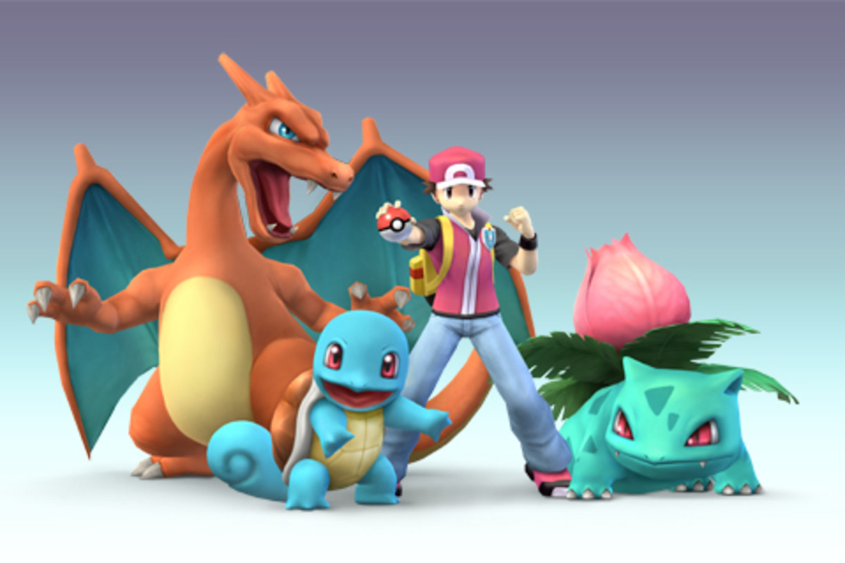 Pokemon Trainer alongside Charizard, Ivysaur, and Squirtle