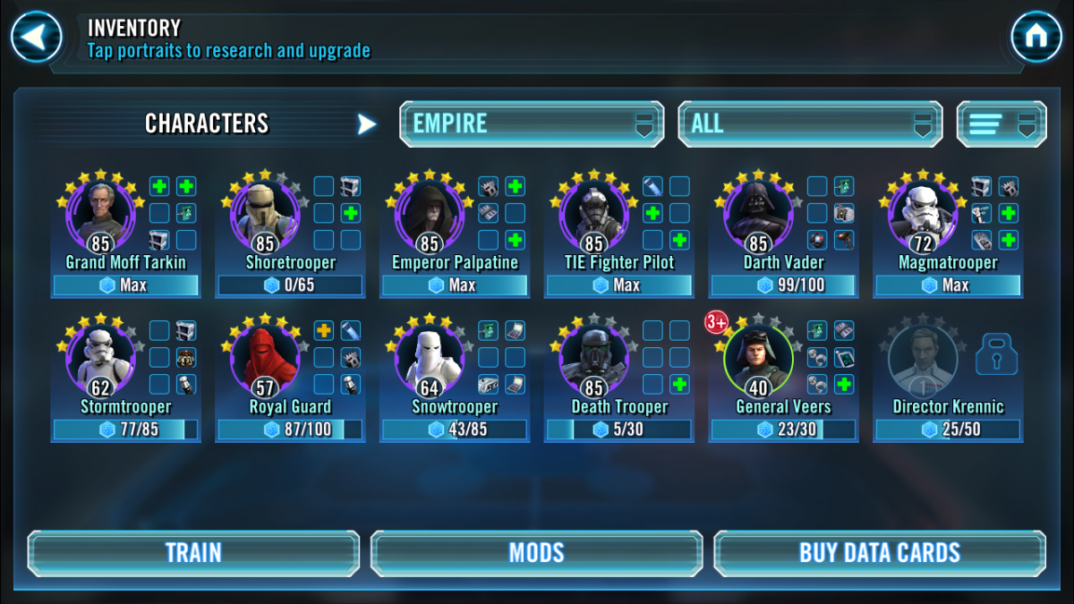 SWGOH Empire Toons