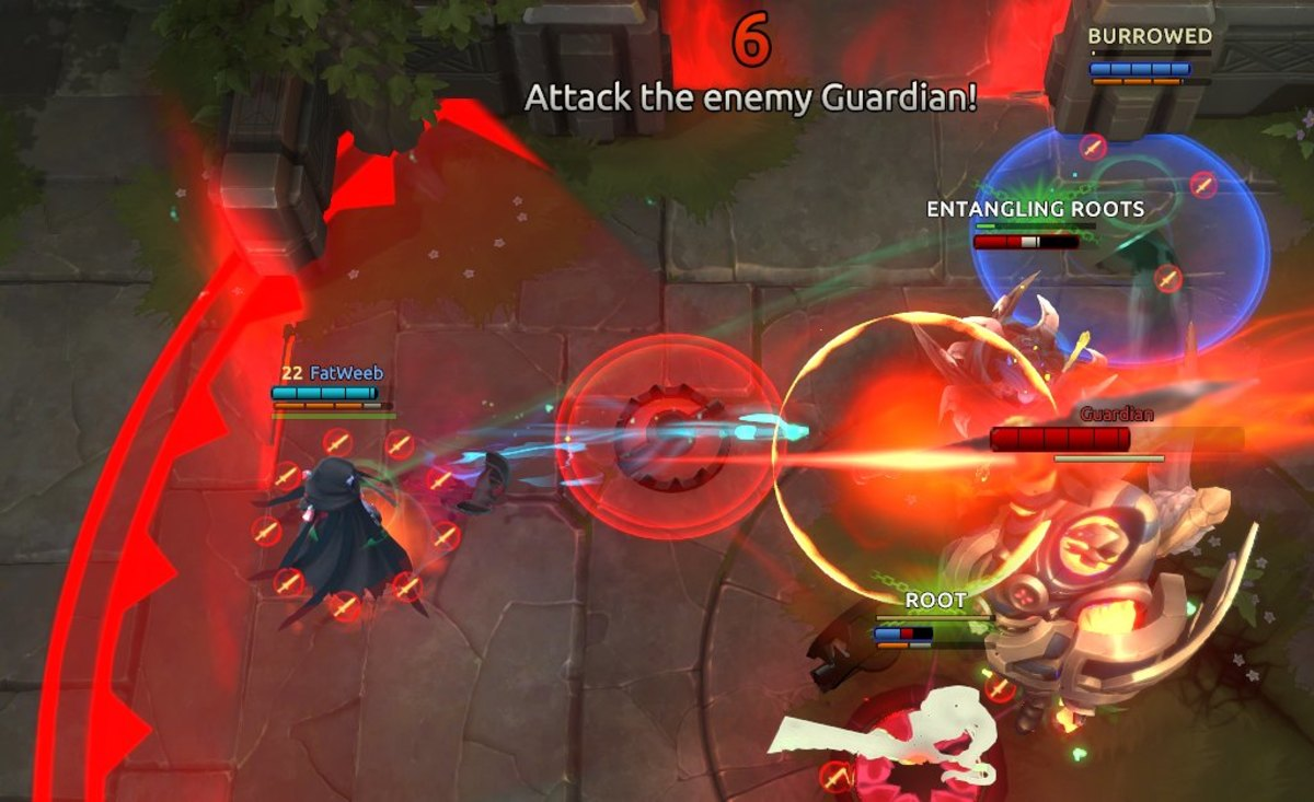 The enemy Guardian's cone attack (outlined in red) deals 35 damage and throws you outside, allowing you to escape easier once the vulnerability window ends.