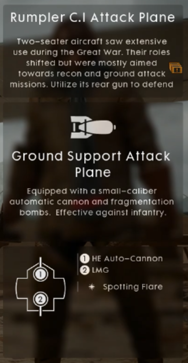 In-game description of Ground Support Attack Plane.