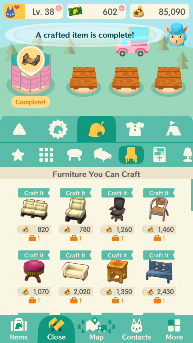 "Some of the seats available to craft in ""Animal Crossing: Pocket Camp."""
