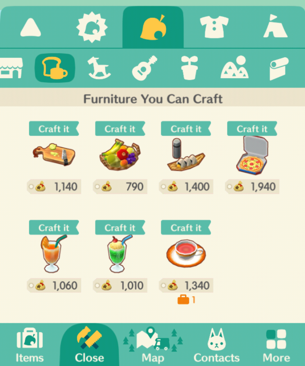 "Some of the food that can be crafted in ""Animal Crossing: Pocket Camp."""