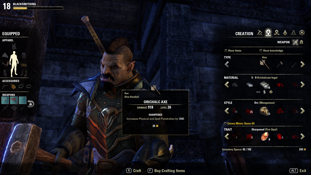 This is the blacksmithing screen. It shows the items required to make an axe. It is similar to that of the other weapon and armor crafting disciplines.