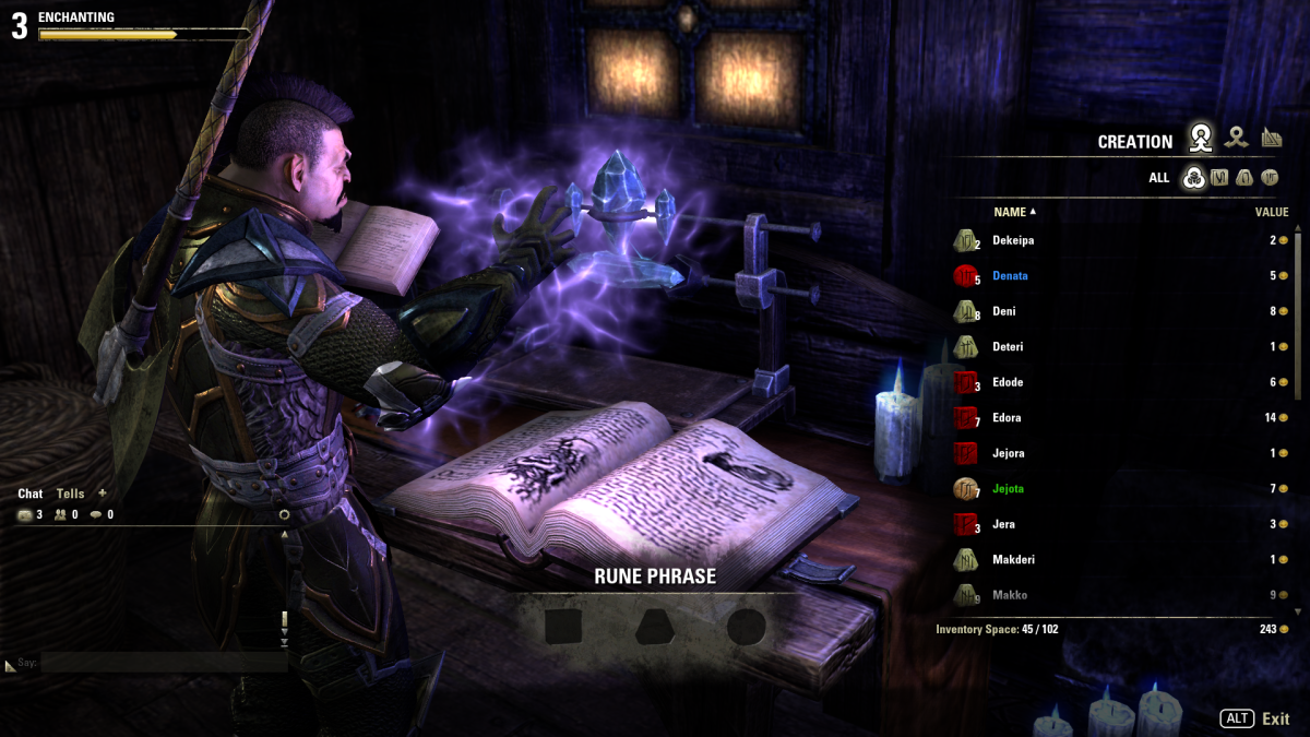 This is the enchanting screen. You can see that you need three runes, one of each type to create a glyph.