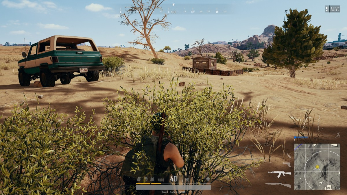 Hiding in bushes is one way to survive until the end-game in PUBG.