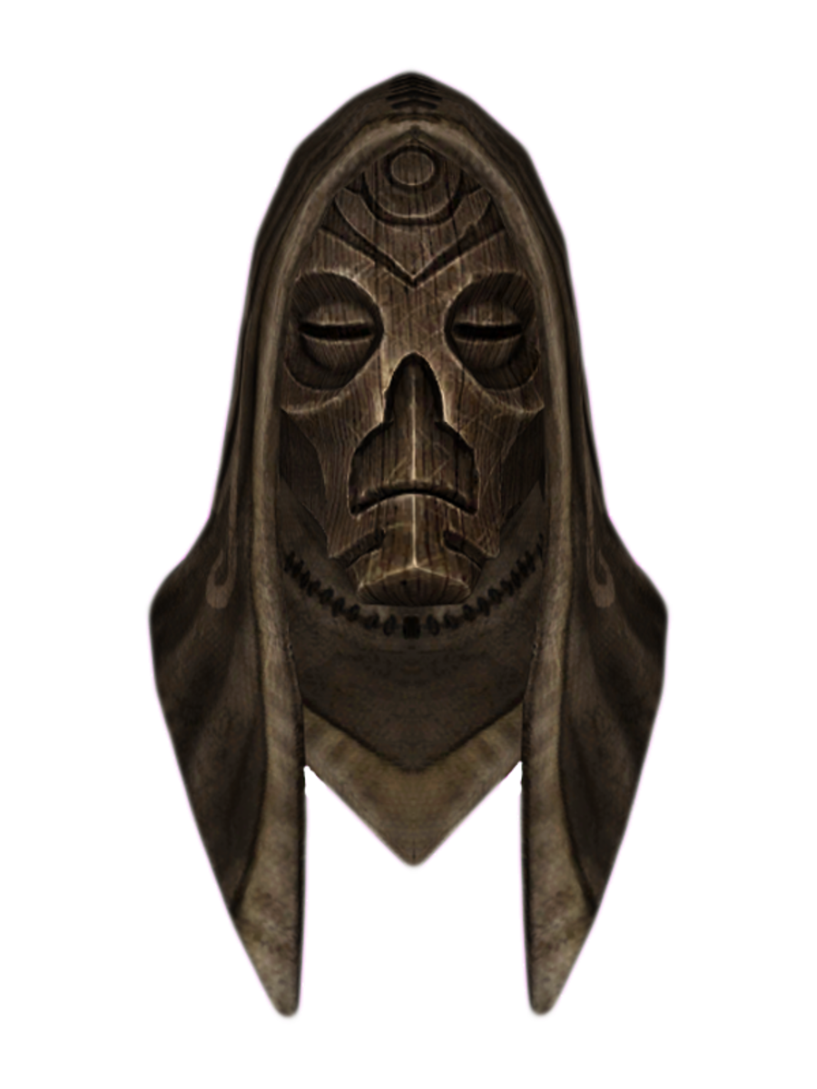 Hooded Wooden Dragon Mask