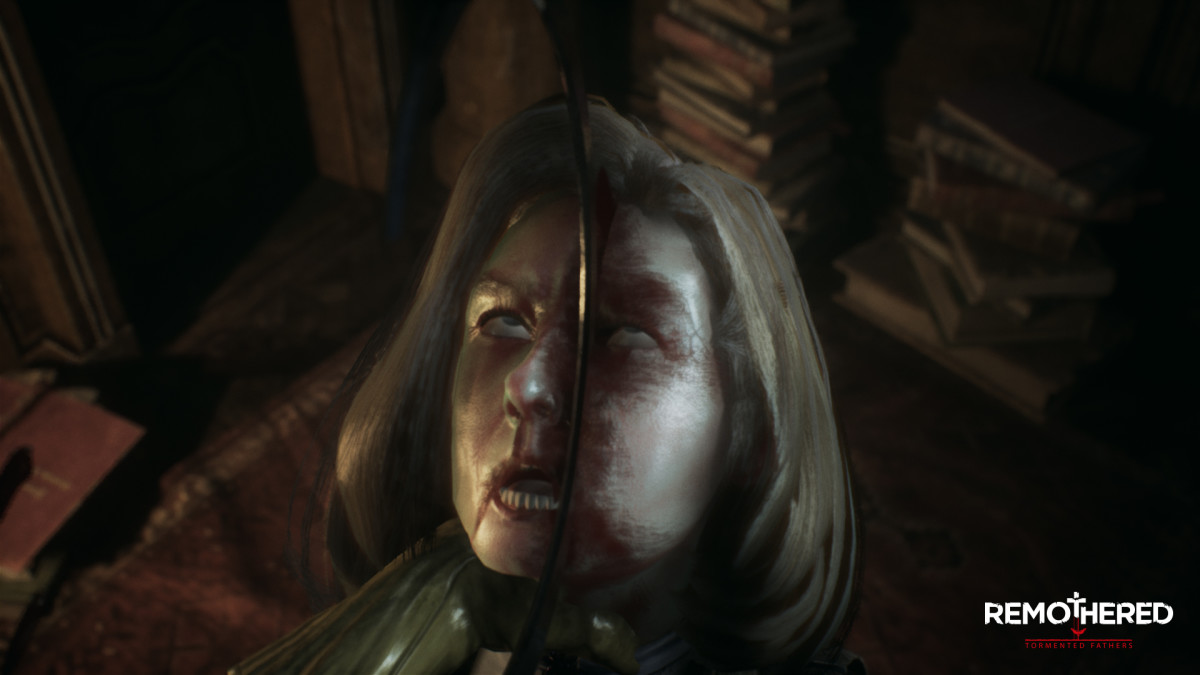 "Maybe the cold steel of Dr. Felton's sickle will cure Rosemary's splitting headache in ""Remothered: Tormented Fathers."""