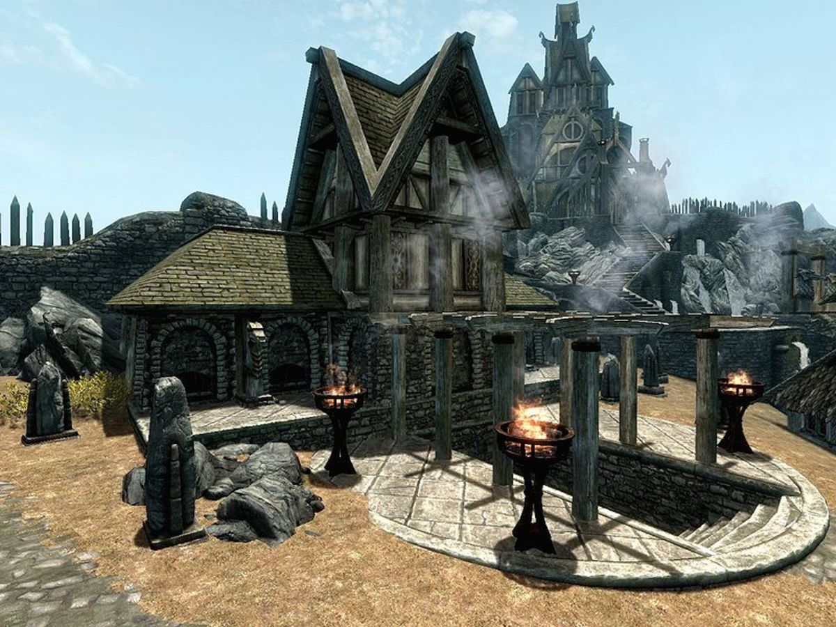 The Hall of the Dead in Whiterun Hold, a typical example of a Nordic tomb.