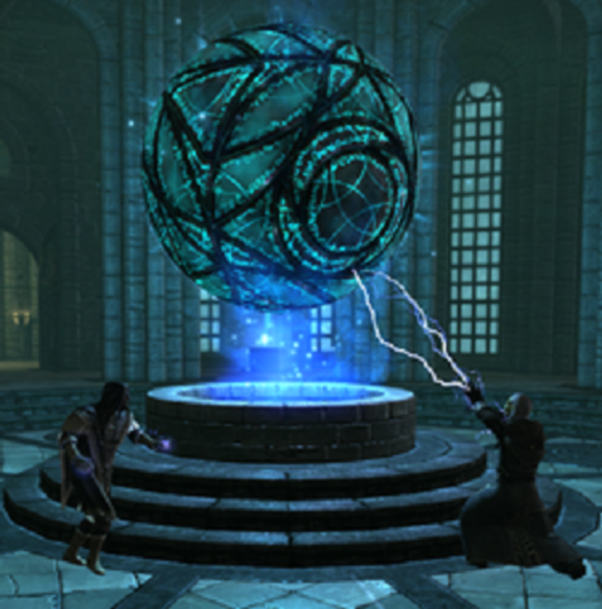 Ancano using magic to harness the power of the Eye with Savos Aren attempting to stop him.