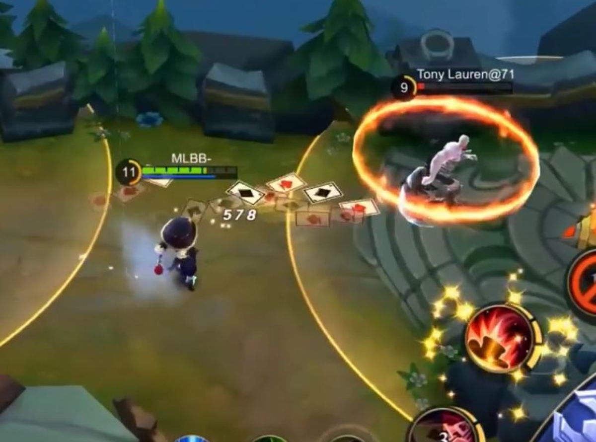 Harley Overwhelming an Enemy after Casting Deadly Magic
