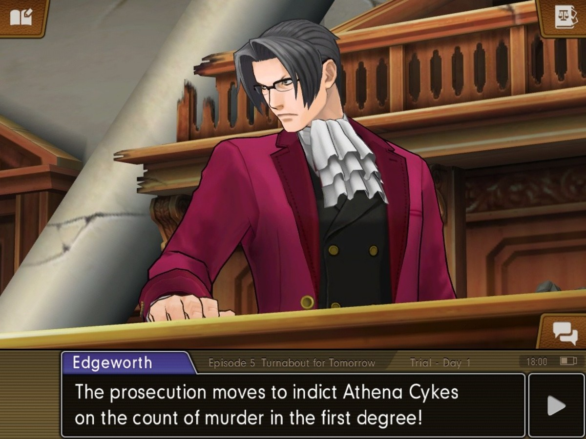 Miles Edgeworth, as prosecutor, is one of the interlocutors in courtroom debate.