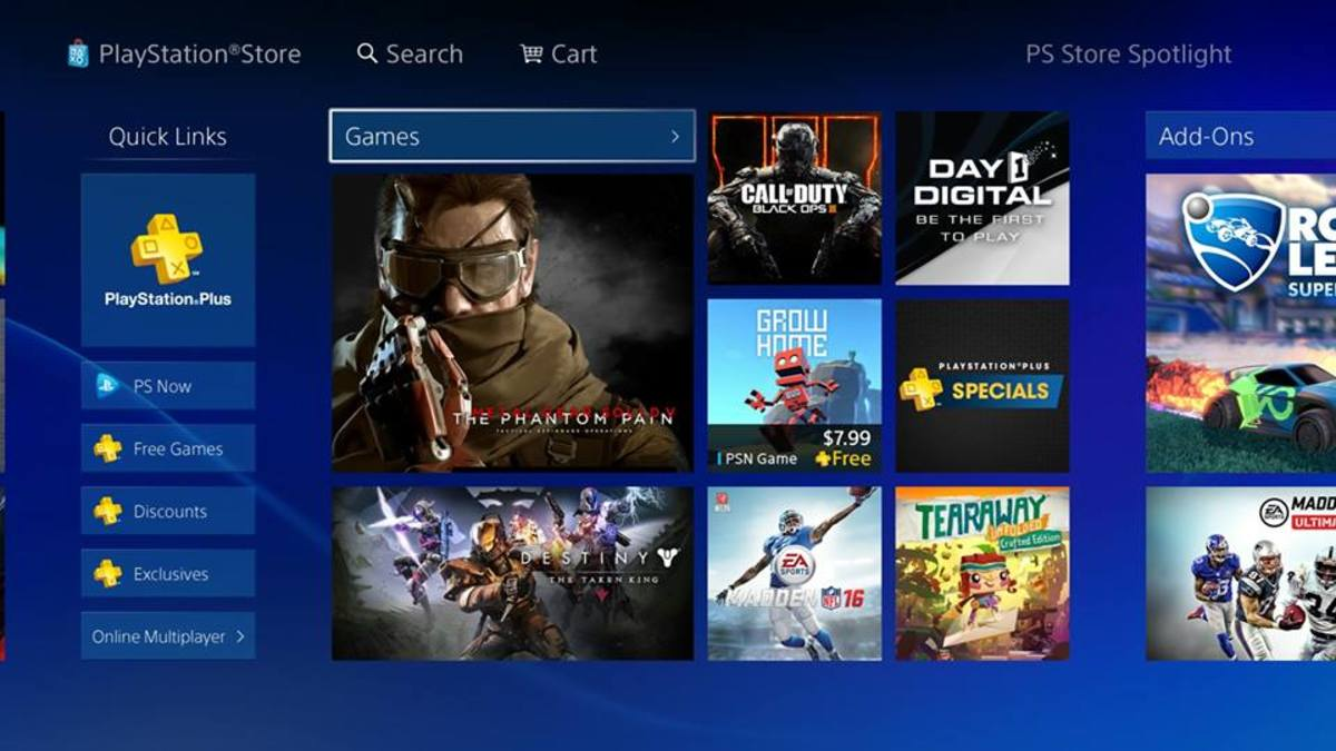 PlayStation Store home page
