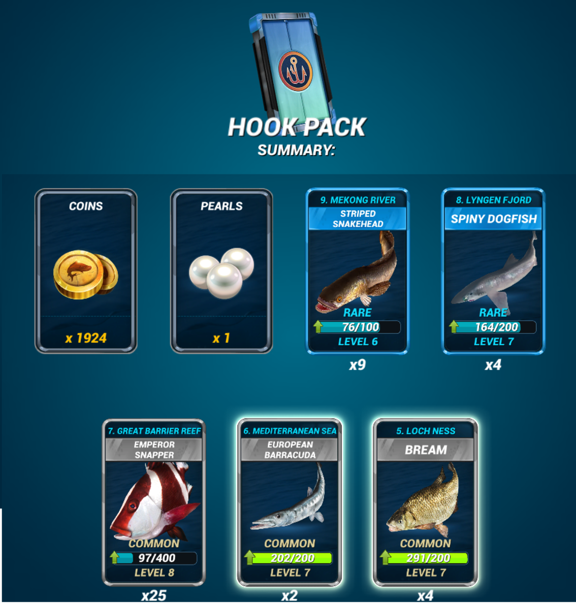 Example Daily Hook Pack Rewards