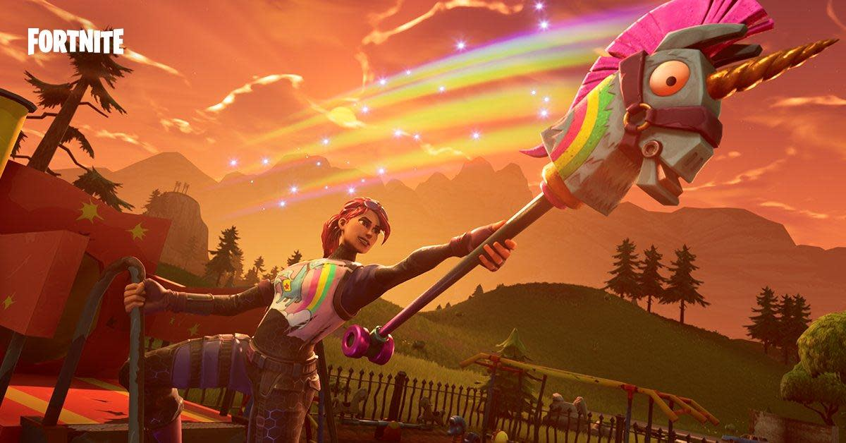 One of Fortnite's magnificent skins includes a unicorn pickaxe.