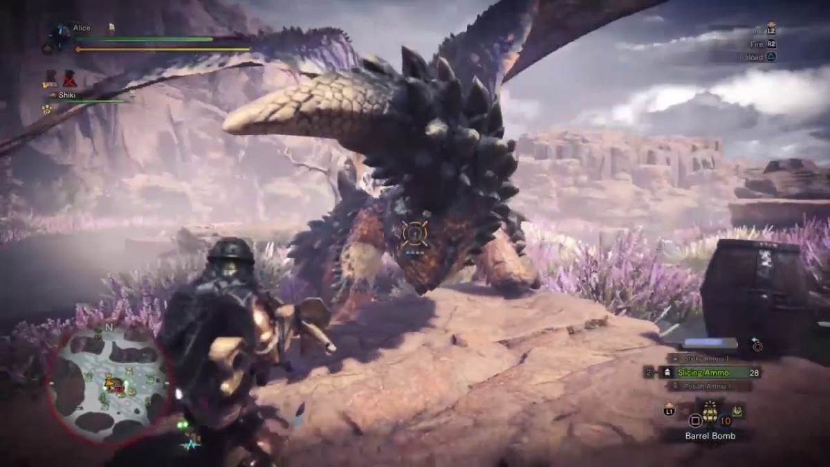 Use the shield in Monster Hunter to upgrade your bow.
