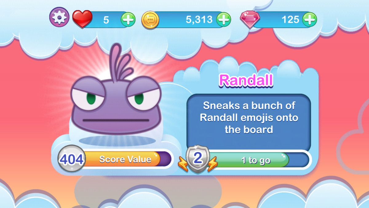 My favorite emoji champion is the unassuming Randall. His point value is high, his power makes it easier to get Rainbow Stars and Sunshines, and he seems to go into powerup mode quickly.