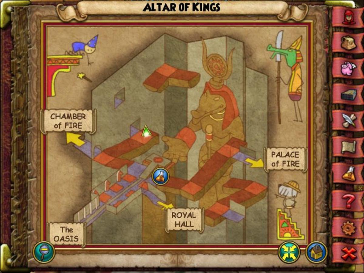 The Altar of Kings Beetle is down the stairs from the entrance to the Chamber of Fire next to some rubble.
