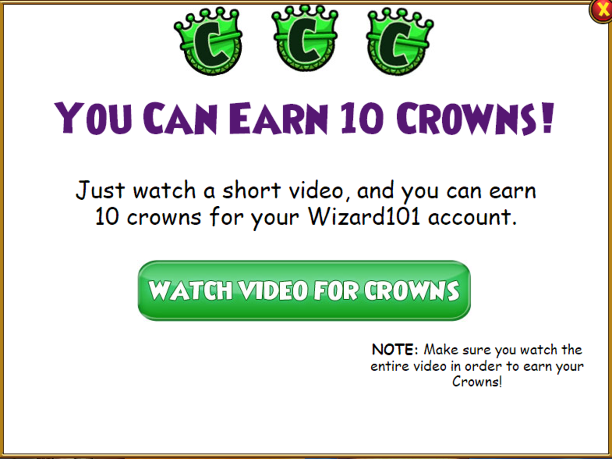 These ads are paid for by KingsIsle's sponsors, which is why they are able to give out free crowns.