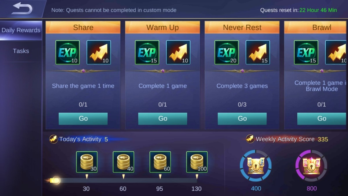 The Daily Rewards screen.