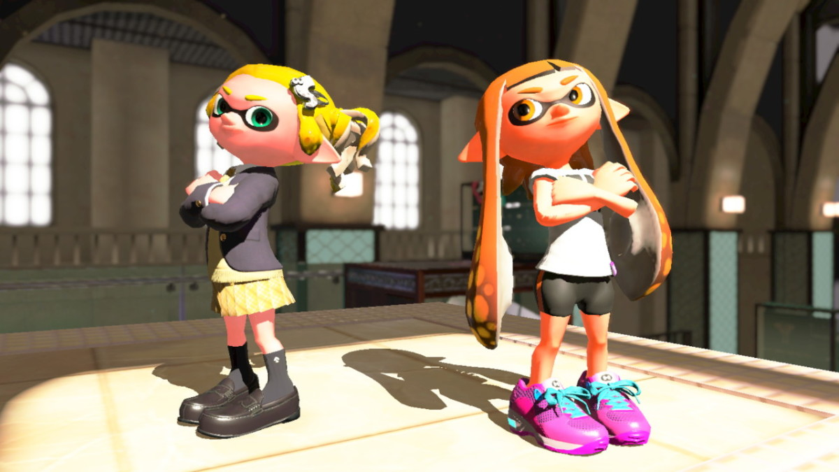"My Inkling wearing the gear from the ""Splatoon 1"" Inkling Girl Amiibo."