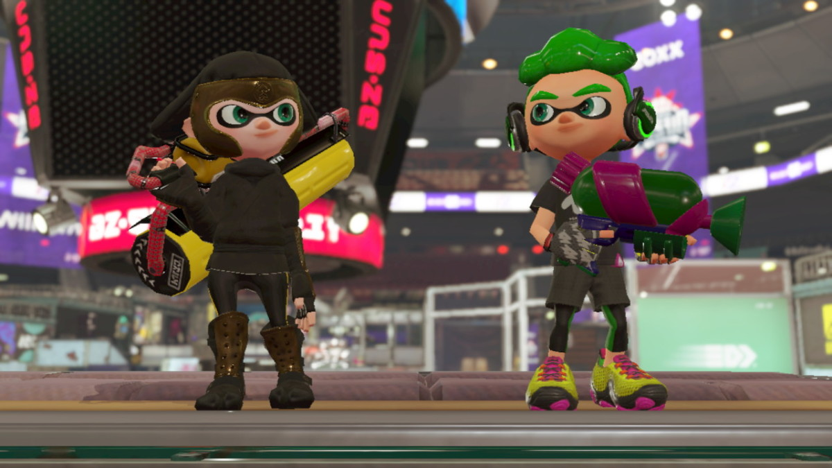 """This is my Inkling wearing the gear unlocked by the """"Splatoon 2"""" Inkling Boy Amiibo."""