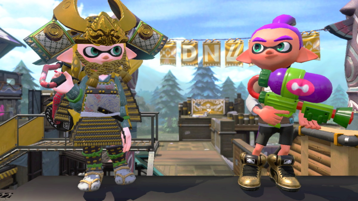 My Inkling wearing the gear unlocked with the Splatoon 1 Inkling Boy Amiibo.