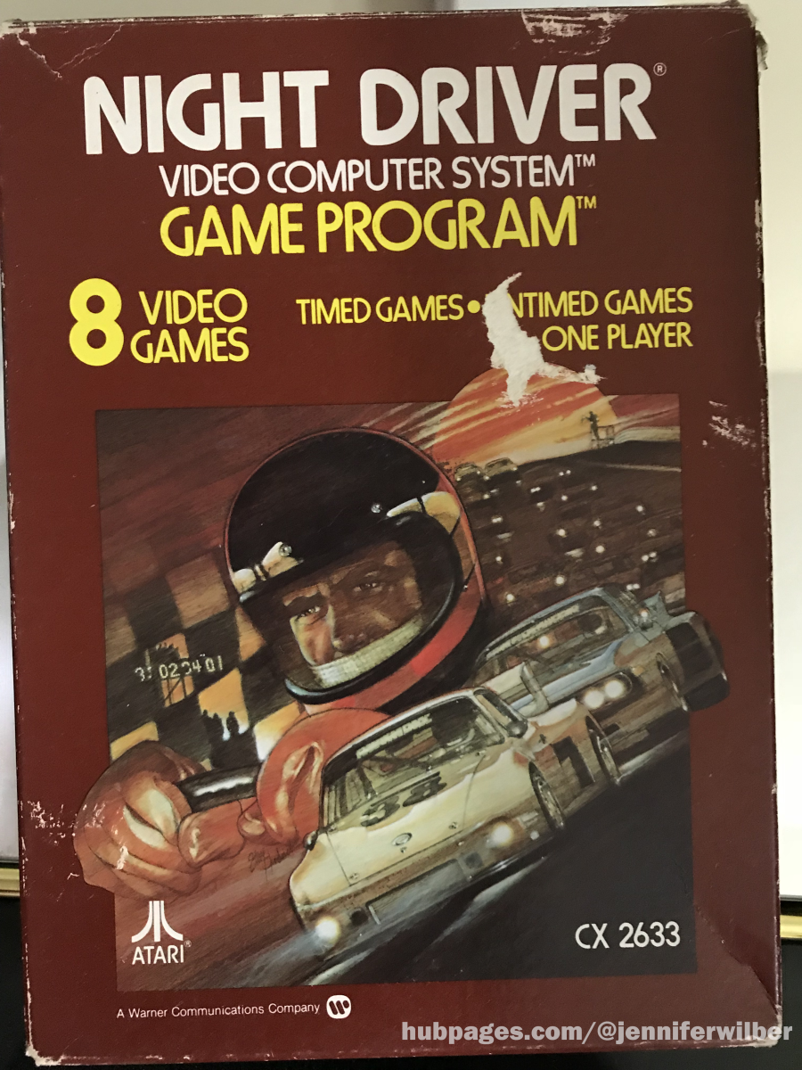 Cover art for the Atari 2600 version of Night Driver. The actual game doesn't look anything like this artwork.
