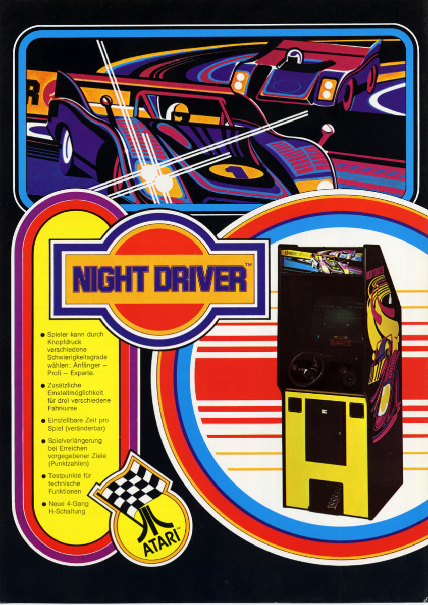 A flyer advertising the original Night Driver arcade cabinet.