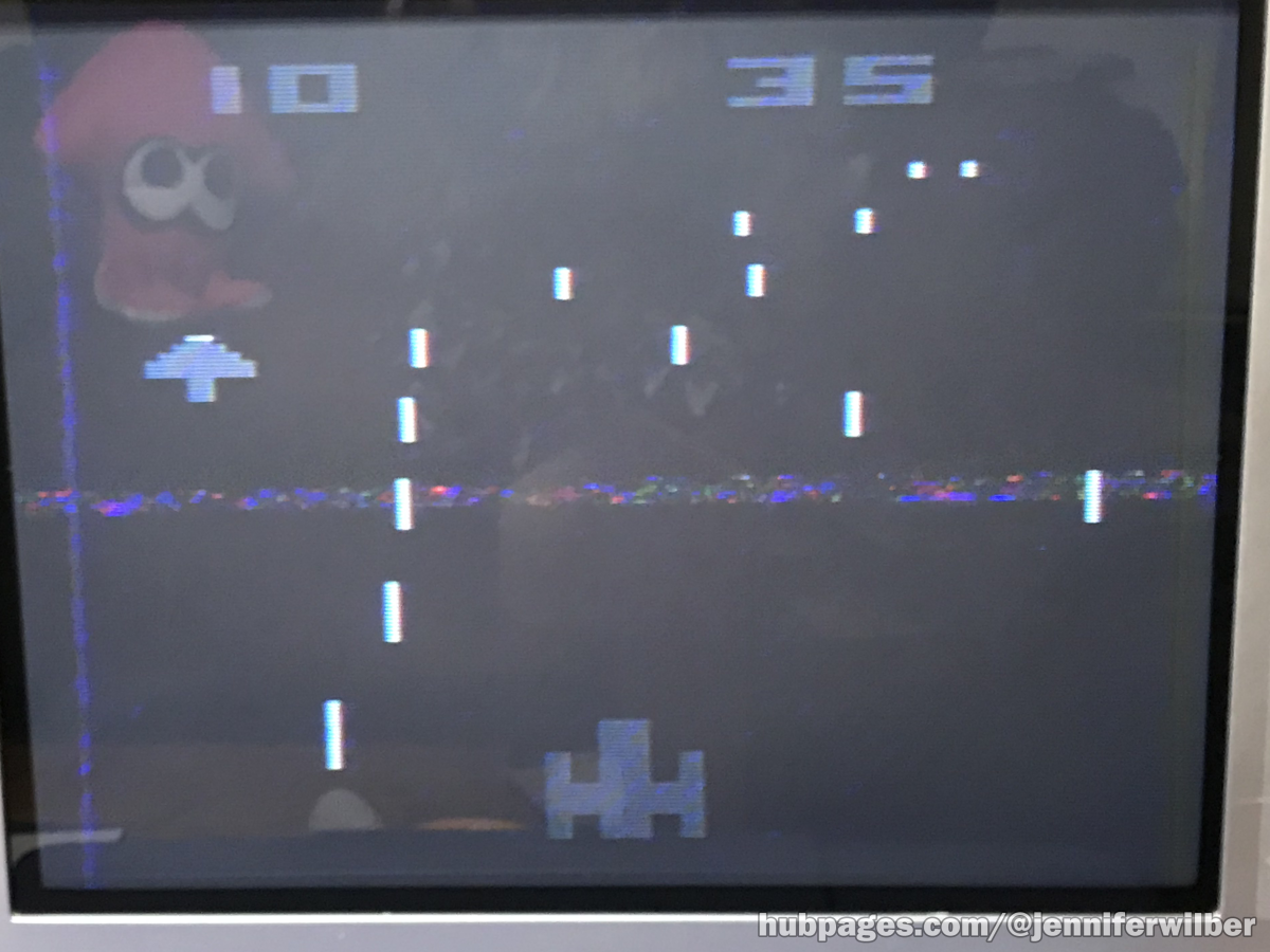 Night Driver being played in black and white TV mode on Atari 2600.