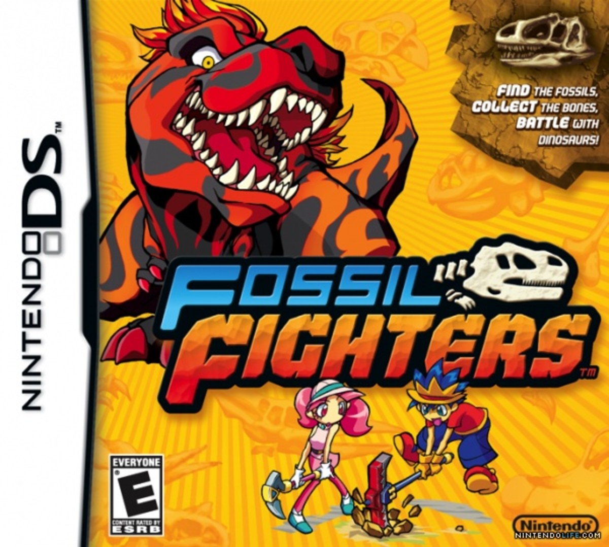 "The cover art for ""Fossil Fighters"" on Nintendo DS."