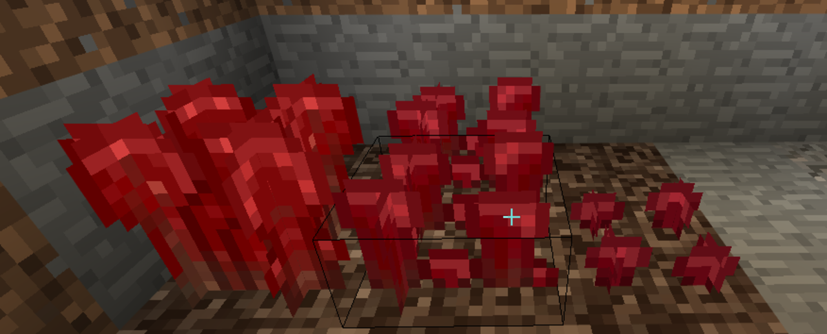 A nether wart farm growing at stage 1, stage 2–3, and stage 4. As you see, stages 2 and 3 will appear just alike.  Stage 4 is fully matured.