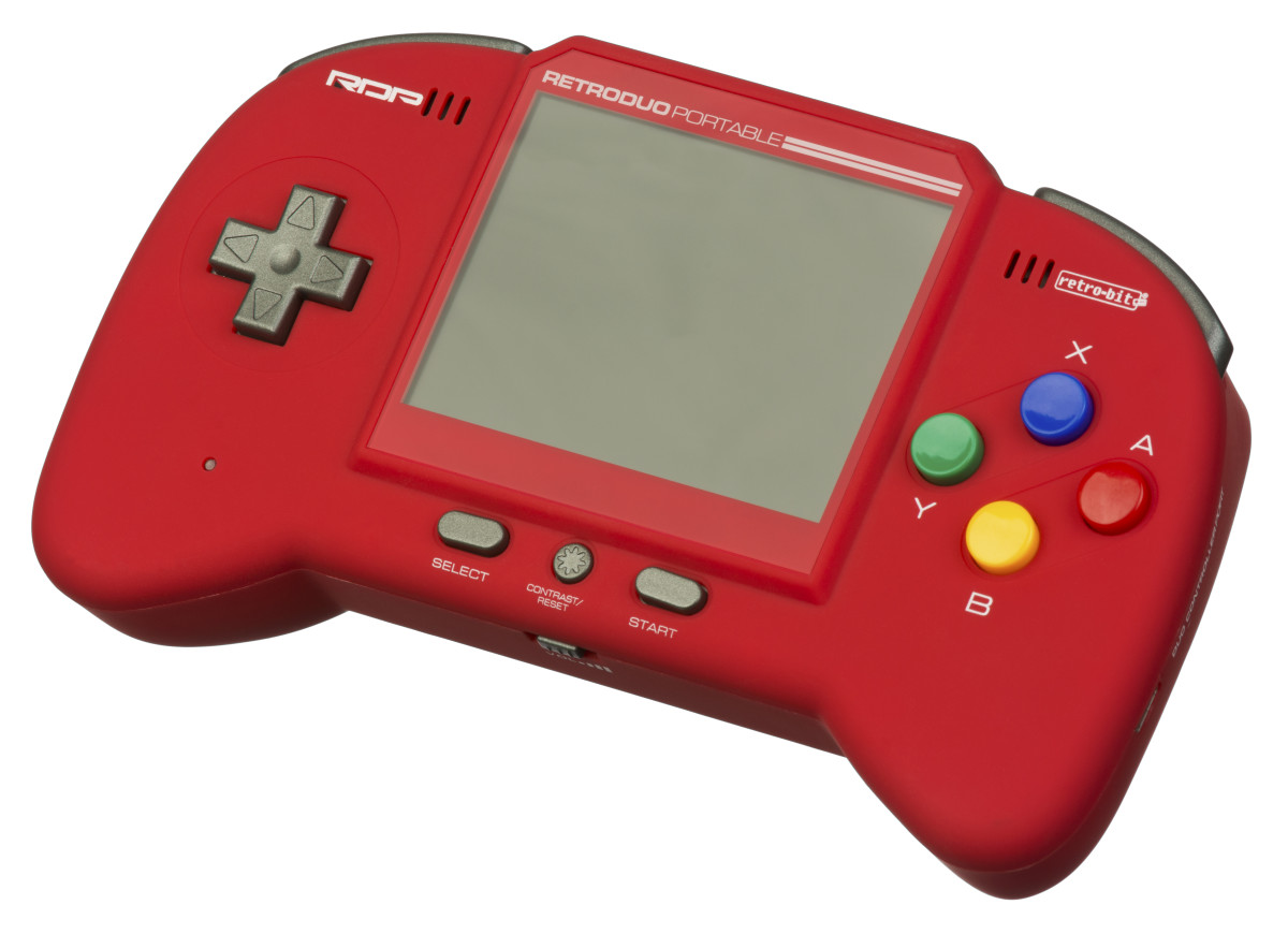 The Retro-Bit Retro Duo Portable in red.