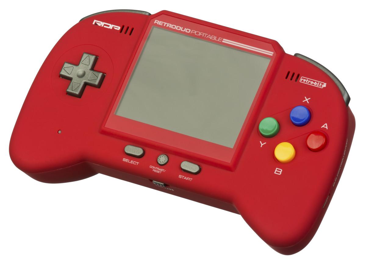 The Retro-Bit Retro Duo Portable in red.
