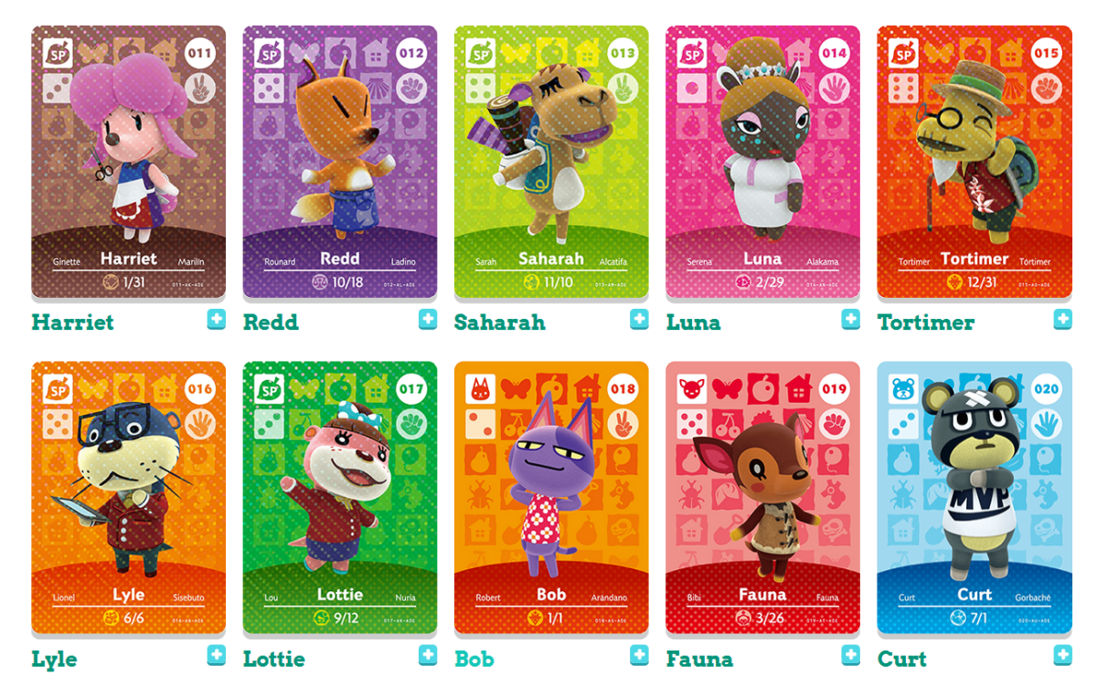 A small sampling of the many Animal Crossing Amiibo cards available to collect.