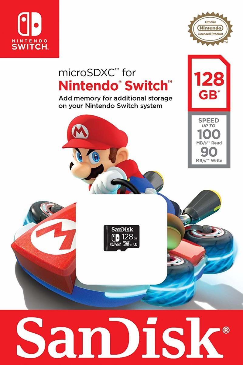 The Mario Kart 8 Deluxe 128 GB micro SD memory card for Nintendo Switch.