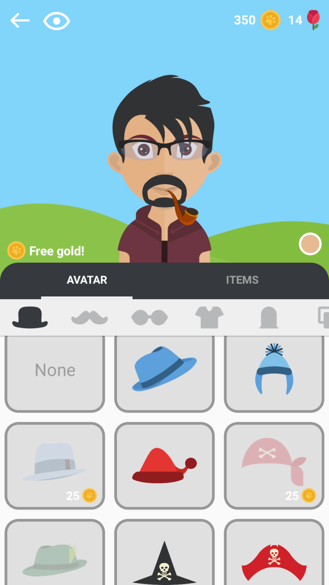 Screenshot of optional accessories for your avatar.